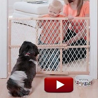 Evenflo Position and Lock Wood Gate Safety Protection For Child Baby Kid Dog Pet