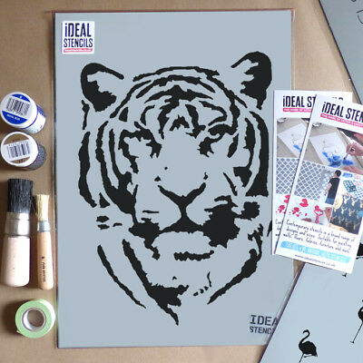 Tiger Face Stencil Home Decor Art Craft Paint Walls Fabric Furniture Stencils