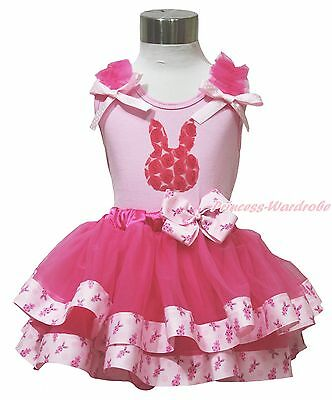 Easter Rose Bunny Pink Top Hot Pink Satin Trim Pettiskirt Baby Girl Outfit NB-8Y