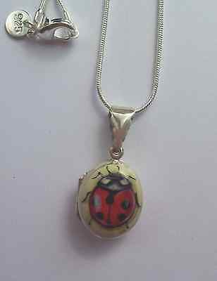 Solid Silver Hand Enamelled Ladybird Locket chain length 16 inch
