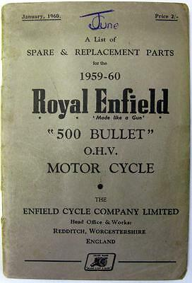 ROYAL ENFIELD 500 Bullet - Motorcycle Owners Parts List - 1959-60 - #735/2½M-160