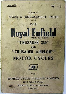 ROYAL ENFIELD Crusader 250 - Motorcycle Owners Parts List - 1958 - #674/2½M-658