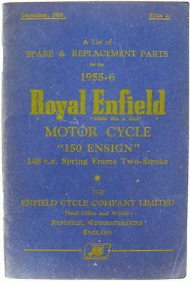 ROYAL ENFIELD 150 Ensign - Motorcycle Parts List - 1956 - #482/1M/1256