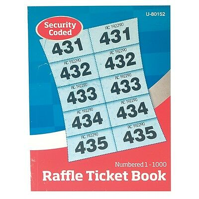 1000 Raffle Ticket Book (Cloakroom Tombola) With Duplicates Security Coded New