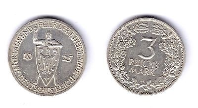GERMANY WEIMAR REPUBLIC 1925 A 3 MARK 15.00 g., 0.500 SILVER VF+ KM:4
