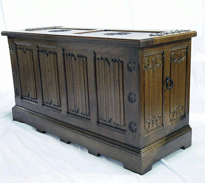 Turn of the Century, Antique Solid Oak French Gothic Trunk, Clean Gothic Details