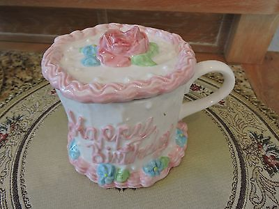 """Happy Birthday Ceramic Jar with Lid and handle- 4"""" Tall"""