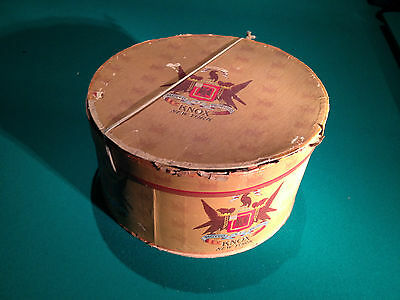 """RARE OVAL - KNOX NEW YORK HAT BOX - 14 1/2"""" X 12"""" - FEDERAL STYLE GRAPHICS"""