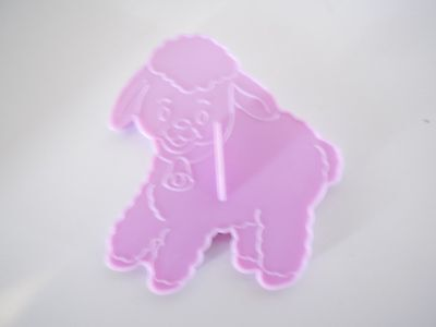 1990 Wilton Plastic Lavender Easter Lamb Cookie Cutters w Handle