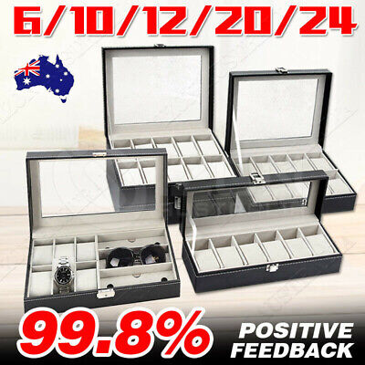 3/6/9/10/12/20/24 Watch Jewelry Storage Hold Box Watches Sunglasses Display Gift
