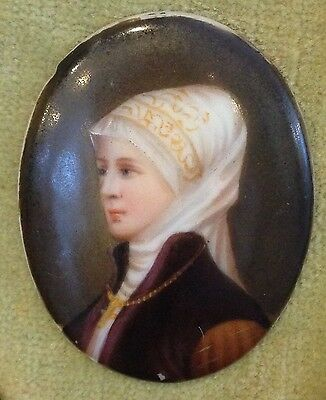 Antique Hand Painted Miniature Portrait Beautiful Woman in Scarf