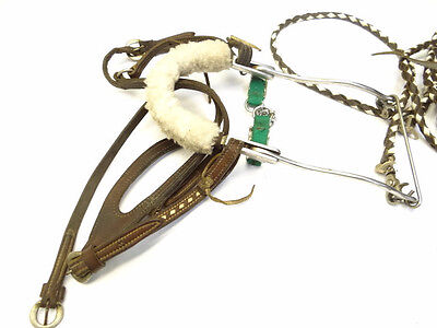 Vintage Metal Brass Braided Leather Horseback Riding Equestrian Bit Bridle Reins