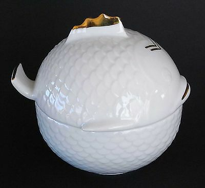 Limoges Monica Vitti White Round Porcelain Fish Box Lid Perfect Signed Adorable
