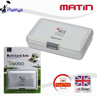 New MATIN Multi Memory Card Safe Carrying Case (Silver) for CF SD SDHC MS XD