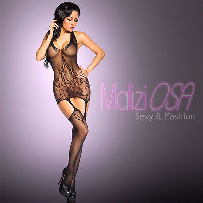 CATSUIT Bodystocking Aperta Ouvert reggicalze SEXY Hot Lingerie Body Rete Pizzo