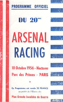 Racing Paris v. Arsenal 10/10/1956 FRIENDLY