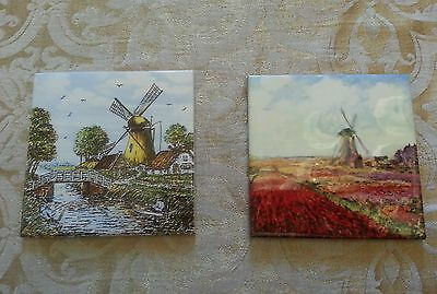 2 HAND PAINTED? Windmill Dutch? Tiles Delft? blue, orange, white