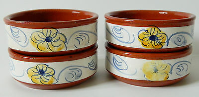 Set Of 4 Small Portugal Terracotta Handpainted Sauce