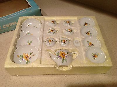 Vintage 16 Piece Toy Child China Tea Set 1986 Summco Service For Four Floral NIB