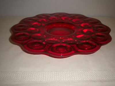 """VINTAGE RED GLASS MOON AND STARS PEDESTAL CAKE PLATE 12 3/4"""""""