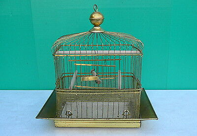 Antique Early 1900s Art Deco Brass Hendryx Bird Cage birdcage canary finch