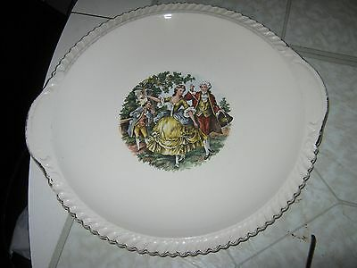 The Harker Pottery Co. Godey Courtship Dinner Plate 22 kt gold