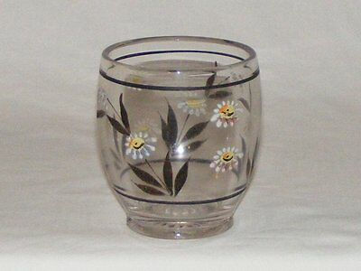 ANTIQUE C.1890 Eapg  HAND PAINTED EARLY AMERICAN  PRESSED GLASS TUMBLER DAISY