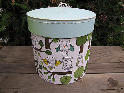 Hat Box storage Owl theme May Be Vintage Stitched Lid Green