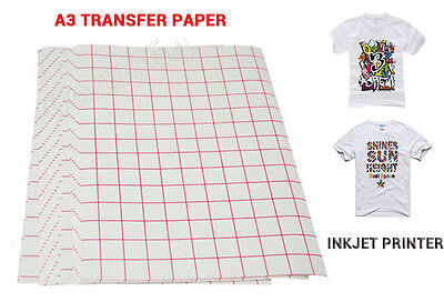10 SHEETS A3 INKJET HEAT IRON ON TRANSFER PAPER Light Color Fabric