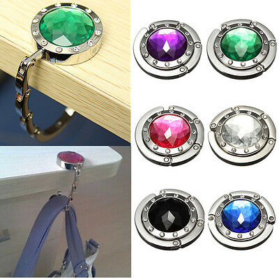 Hot Portable Foldable Folding Crystal Alloy Purse Handbag Hook Hanger Bag Holder