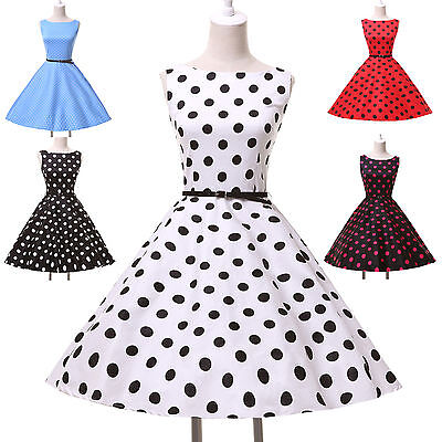 RED BLUE+ Vintage Retro 1950s swing Pinup Rockabilly Housewife Rock & Roll Dress