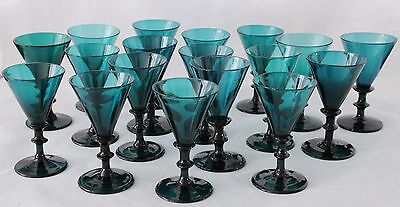 18x antique 18th C White Wine Glass ca.1780 Holland, blue green / petrol crystal