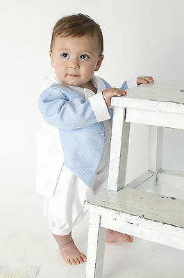Baby Boys Christening Outfit Christening Suit Christening Romper Diamond Blue