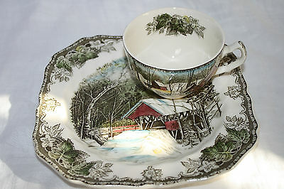 """JOHNSON BROS THE FRIENDLY VILLAGE""""THE COVERED BRIDGE"""" (1) SNACK PLATE & CUP SET"""