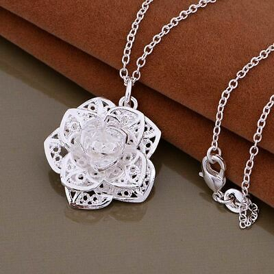 *Uk* 925 Silver Plt Big Filigree 3D Rose Flower Pendant Necklace With 18'' Chain
