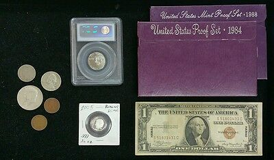 *ESTATE SALE* PROOF SETS, HAWAII NOTE  SILVER COINS, BISON NICKEL, INDIAN CENTS