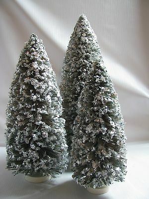 "SET OF 3 GREEN RAFFIA CHRISTMAS TREES MICA TRIMMED  13"", 10.5"", 8.5"""