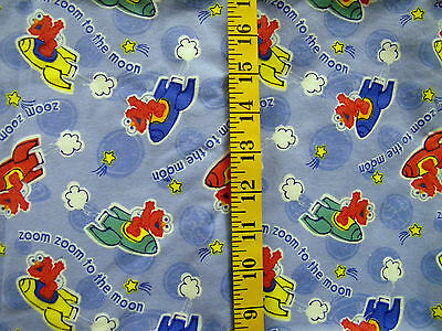 SESAME STREET ZOOM TO THE MOON 100% COTTON FLANNEL FABRIC 35X43 INCHES