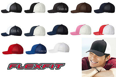 Yupoong Flexfit Trucker Cap 6511 Fitted Mesh Baseball Hat NEW 18 Colors One Size