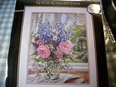 Dimensions Gold counted cross stitch kit, floral, Peonies & Delphiniums
