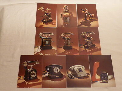 VINTAGE LOT OF 10 POSTCARDS ERICSSON PHONES from 1878 to 1976 / FULL SET
