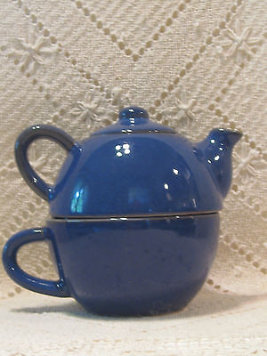 Pier 1 One Imports Stoneware Cobalt Blue Individual Tea Pot With Lid & Cup Mug