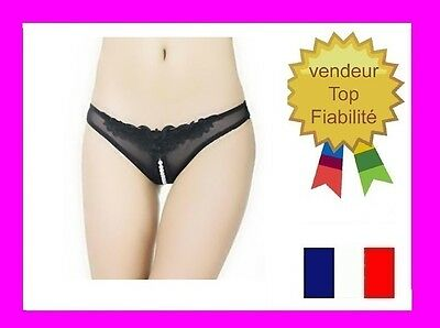 string tanga culotte coquine : string ouvert sexy perles stimulantes