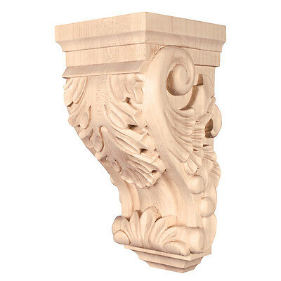 "One Pair- Small Acanthus Wood Corbels- 4-1/2"" x 5"" x 10""-  # CORBB-1-RW"