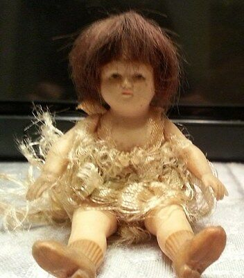 """Antique/Vintage Bushow and Beck Celluloid 4"""" Bye-Lo Doll Circa 1920 TO 1930"""