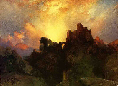 Oil Thomas Moran - Caledonia, Stern and Wild at sunset landscape with castle art
