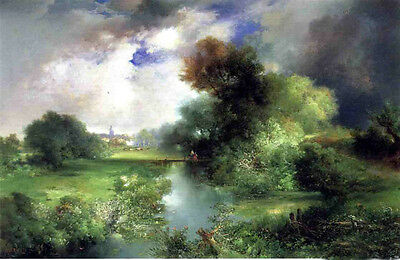 Long Island Landscape with Lush trees on canvas Nice Oil painting Thomas Moran