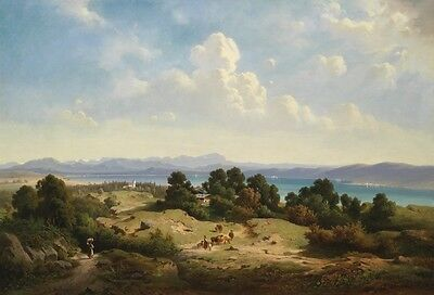 Nice Oil painting beautiful summer landscape with people cows by the dusk river