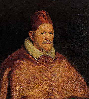 Oil painting Diego Velazquez - Old man portrait Pope Innocent X wearing red hat