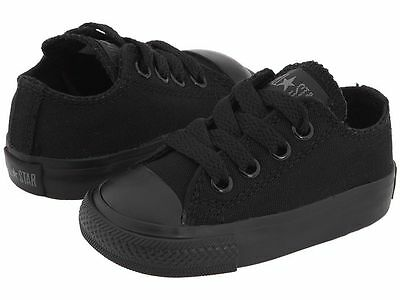 Converse Chuck Taylor Ox Top Black Mono Infant Toddler Boy Girl Shoes All Sizes